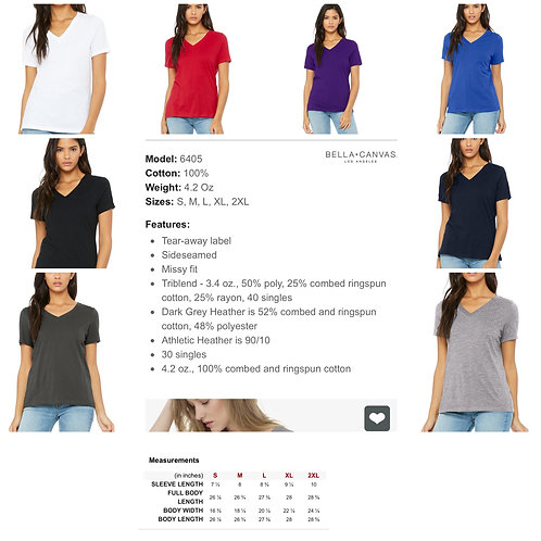 Ladies' Bella+Canvas Relaxed V-neck T-shirt