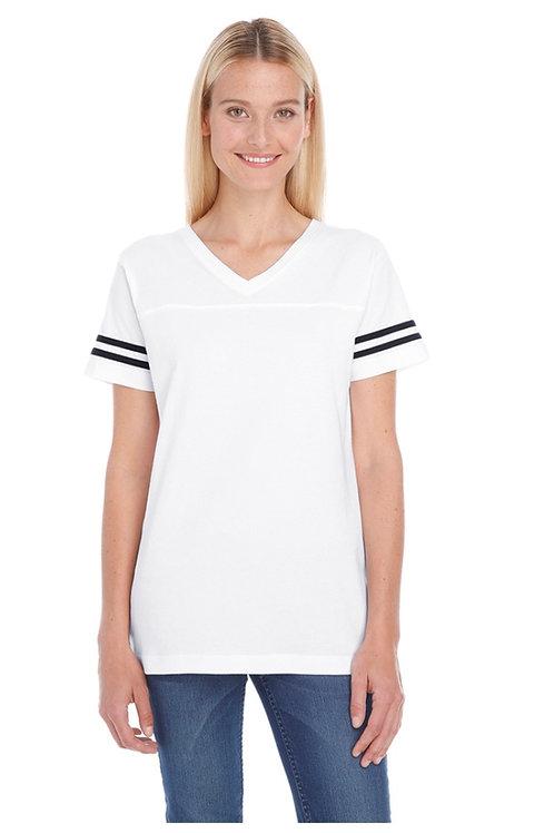 2x Ladies' LAT Football V-neck Striped Sleeve Shirt