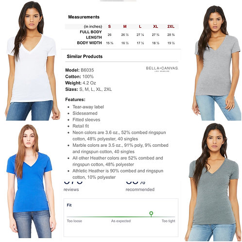 Ladies' Bella+Canvas Fitted Deep V-neck T-shirt