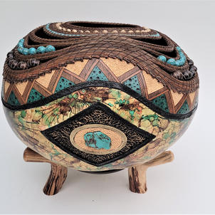 Turquoise Landscape  $1,850  (includes stand)