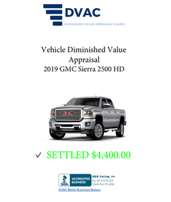 Diminished Value Appraisal 2019 GMC Sierra