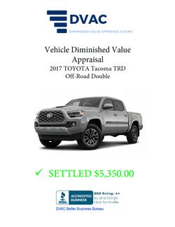 Diminished Value Appraisal 2017 Toyota Tacoma