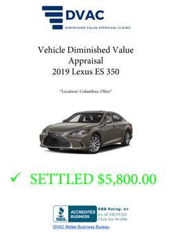 Diminished Value Appraisal 2019 Lexus LS 550