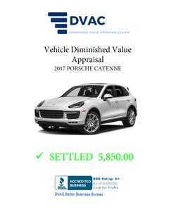 Diminished Value Appraisal 2017 Porsche Cayenne