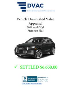 Diminished Value Appraisal 2019 Audi SQ5