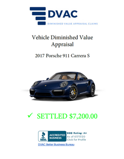 Diminished Value Appraisal 2017 Porsche Carrera S