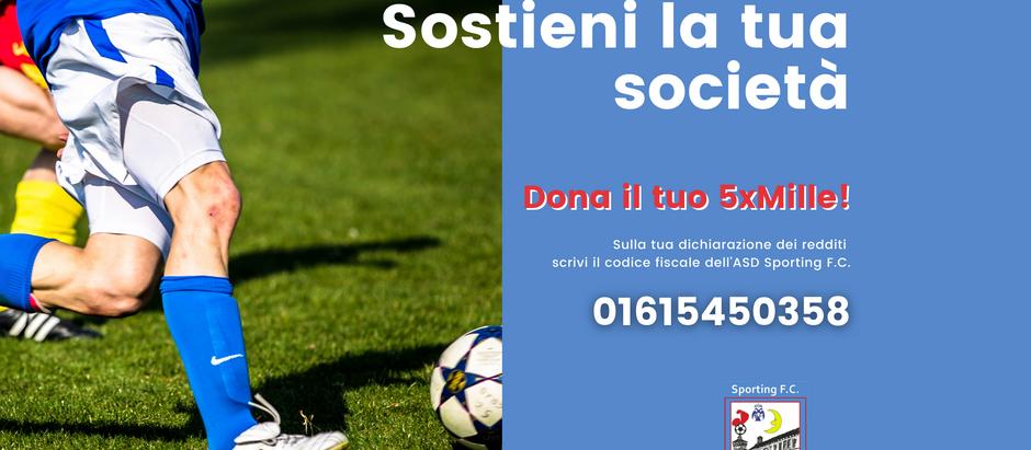 Sostieni la tua società: dona il tuo 5xMille all'ASD Sporting FC