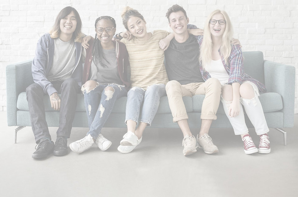 Group of diverse teens laughing