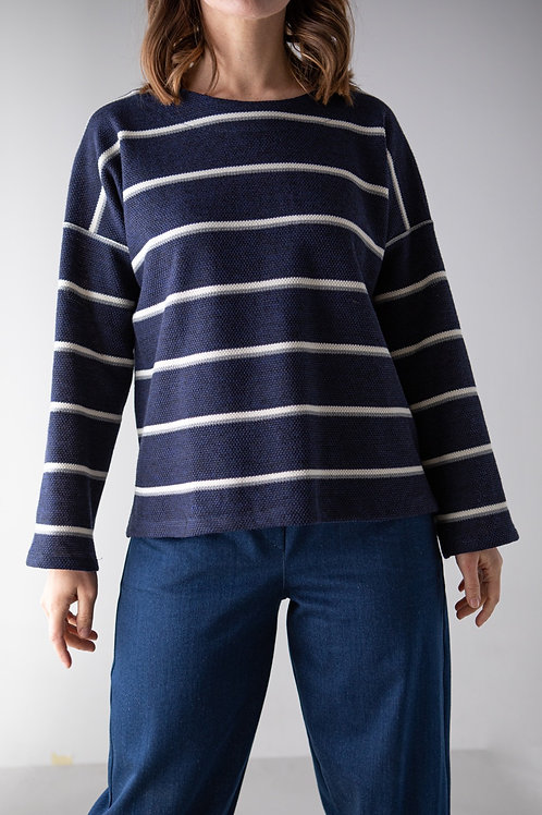 Maglioncino a righe blu/bianco/grigio