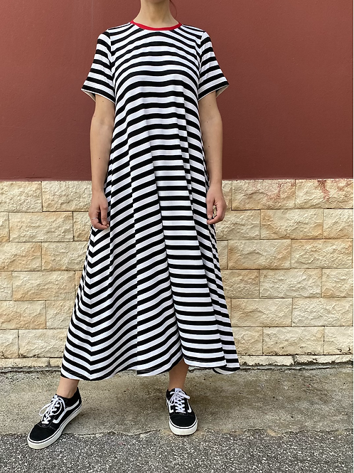 Maxi abito righe bianche/nere