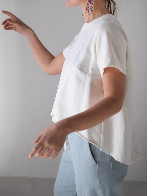 T-shirt asimmetrica bianco