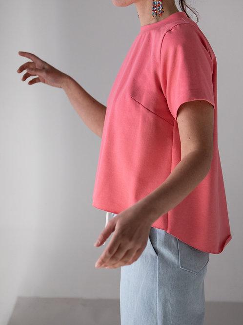 T-shirt asimmetrica corallo