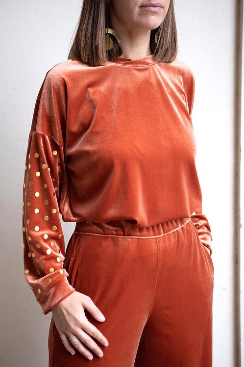 Maglia in velluto arancio intenso