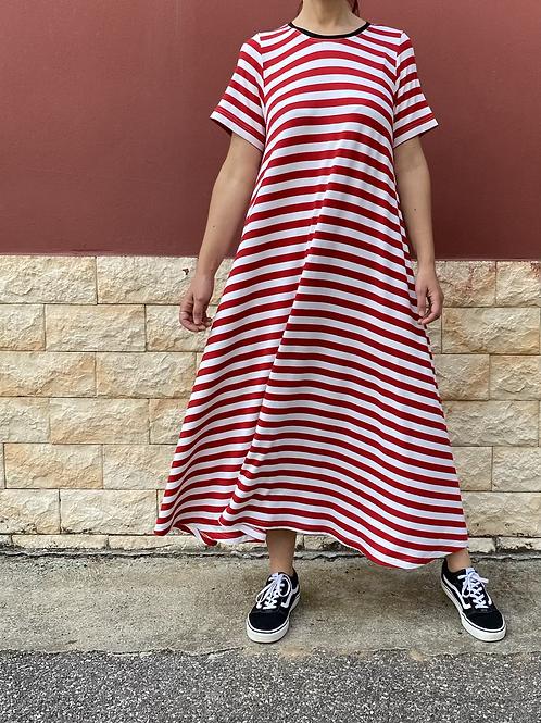 Maxi abito righe bianche/rosse