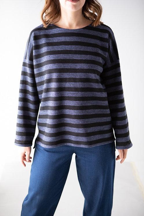 Maglioncino a righe blu jeans/nero