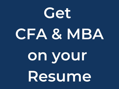 How to complete CFA + MBA Degree without wasting years
