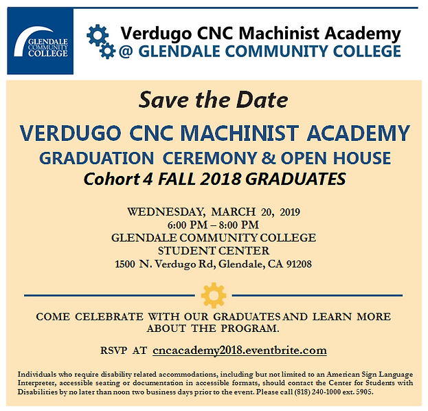 The Verdugo CNC Machinist Academy @ Glendale Community College
