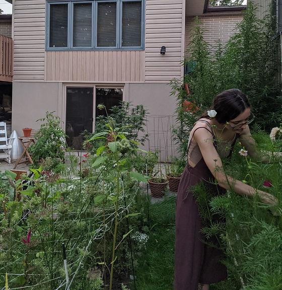 Sammy, the sustainable florist, in the garden