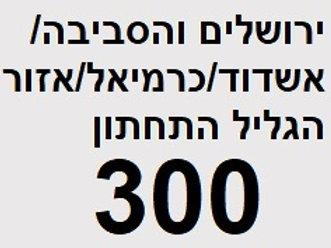 ירושלים והסביבה/ אשדוד/כרמיאל ואזור הגליל התחתון