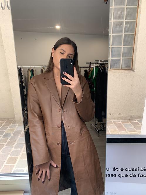 veste longue cuir brun