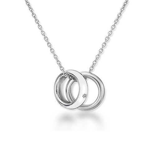 Sterling Silver Diamond Set Double Ring Necklace