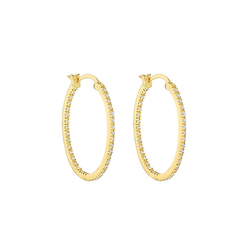 Yellow Gold Vermeil 40mm Stone Set Oval Hoop Earrings