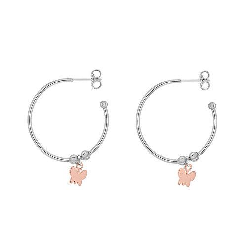 Sterling Silver Butterfly Drop Hoop Earrings