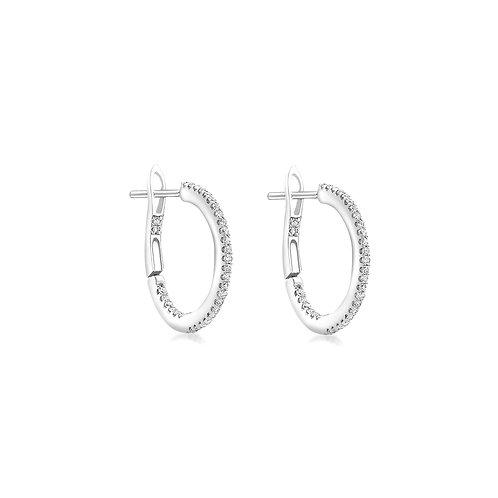 9ct White Gold 14mm Diamond Set Hoop Earrings