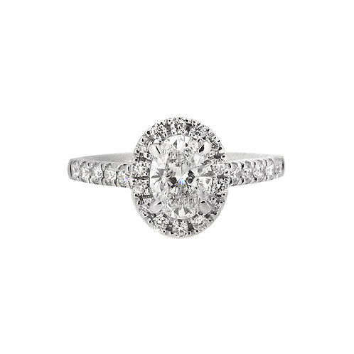 18ct White Gold 1.00ct Oval Halo Ring