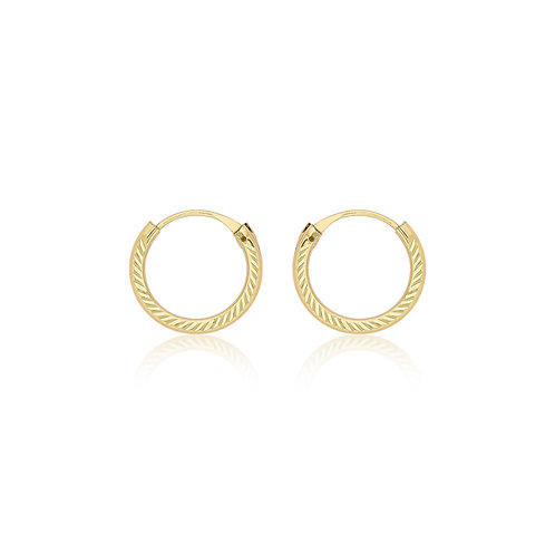 9ct Yellow Gold 11mm Diamond Cut Sleeper Earrings