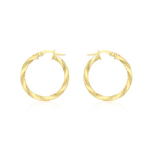 9ct Yellow Gold 25mm Twist Hoop Earrings