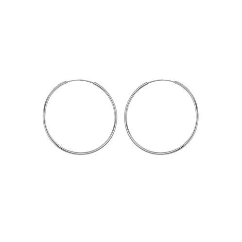 Sterling Silver 35mm Thin Hoop Earrings