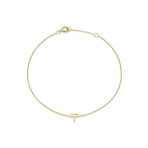 9ct Yellow Gold Initial T Ladies Bracelet