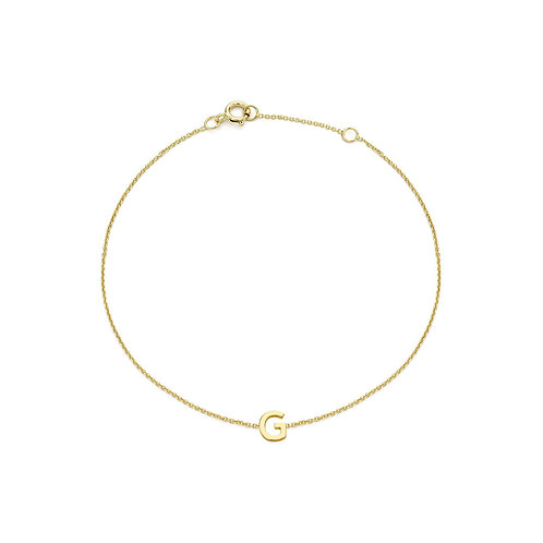 9ct Yellow Gold Initial G Ladies Bracelet