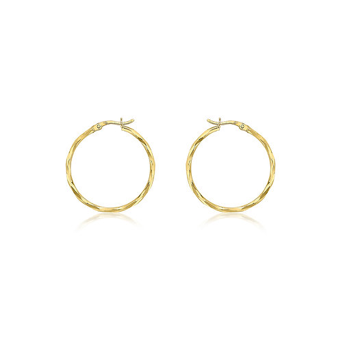 9ct Yellow Gold 28mm Diamond Cut Hoop Earrings