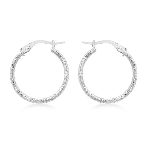 9ct White Gold Diamond Cut Creole Hoop Earrings
