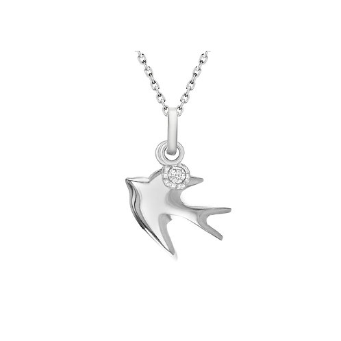 Sterling Silver CZ Dove Necklace