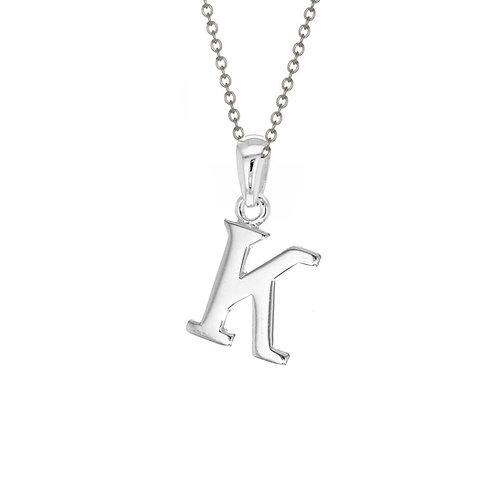 Sterling Silver Letter K Pendant