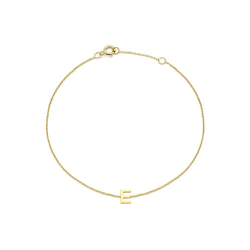 9ct Yellow Gold Initial E Ladies Bracelet
