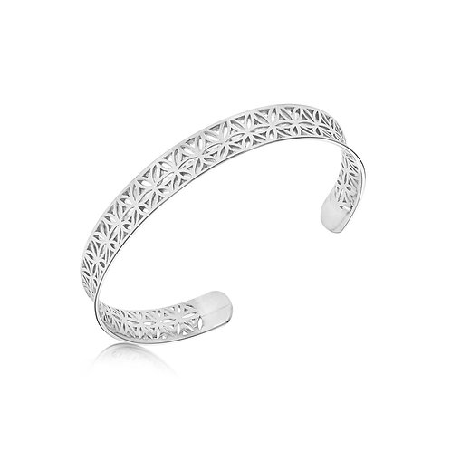 Sterling Silver Daisy Design Bangle