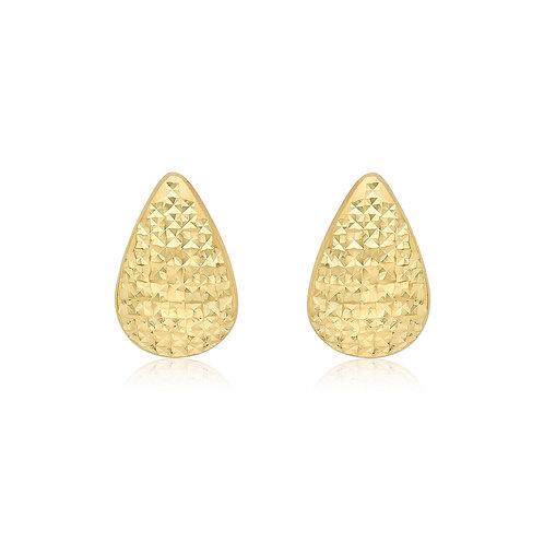 9ct Yellow Gold Diamond Cut Teardrop Stud Earrings