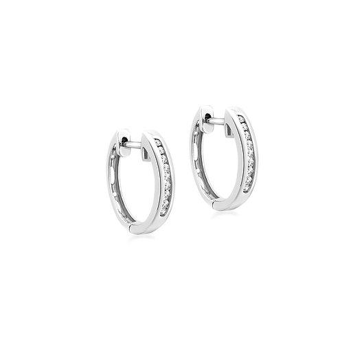 9ct White Gold 15mm Diamond Set Huggie Earrings