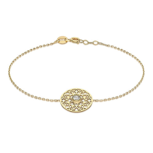 9ct Yellow Gold Lace Design Bracelet with CZ