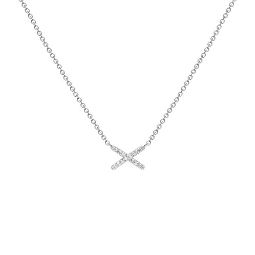 9ct White Gold Kiss CZ Necklace
