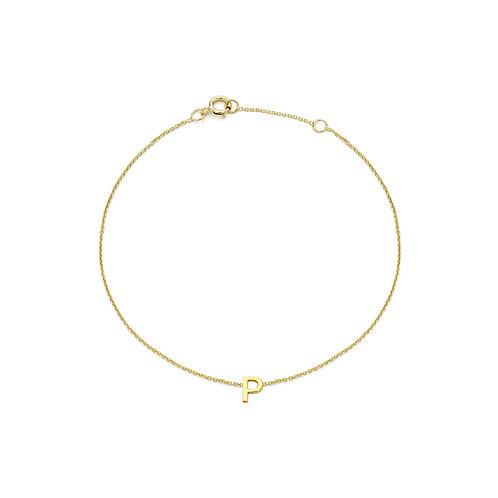 9ct Yellow Gold Initial P Ladies Bracelet