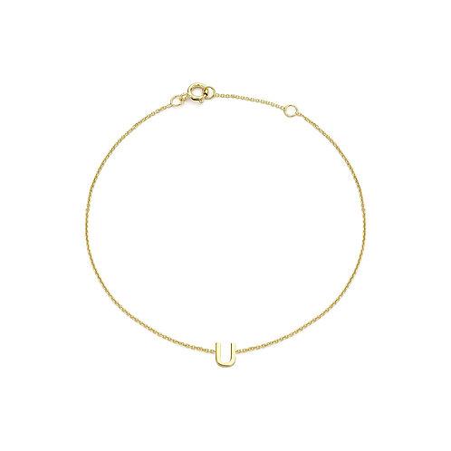 9ct Yellow Gold Initial U Ladies Bracelet