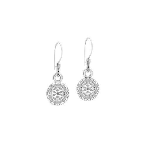 Sterling Silver Filigree Ball Drop Earrings