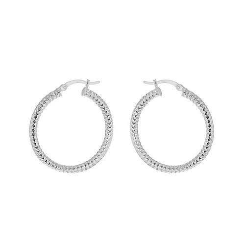 Sterling Silver 30mm Forever Bead Hoop Earrings
