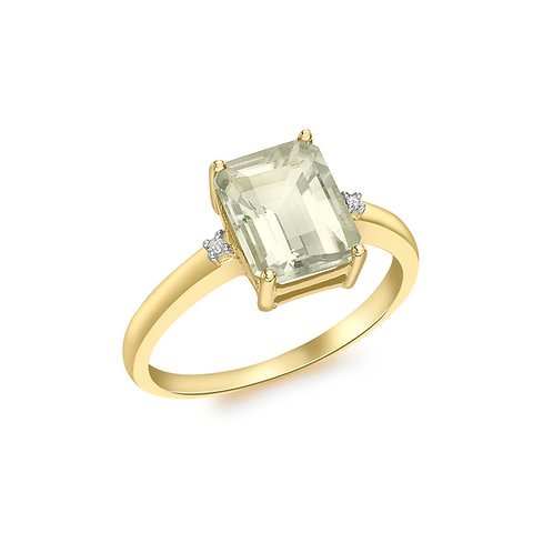9ct Yellow Gold Octagonal Green Amethyst and Diamond Ring