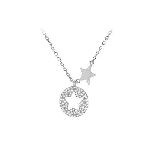 Sterling Silver CZ Stars Necklace